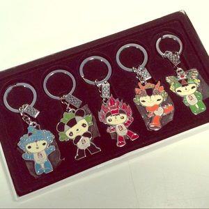 2008 Beijing Olympics 5 Color Mascot Keychain Set